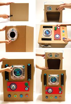 MAKEDO - Robot Costume Like the pie tin at the arm/leg holes