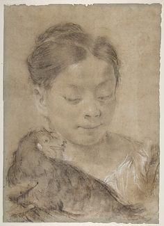 Girl with a Hen - Giovanni Battista Piazzetta
