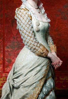 1879 - Ritratto di signora (dett.) Pierre-Auguste Cot Abito di ispirazione rinascimentale