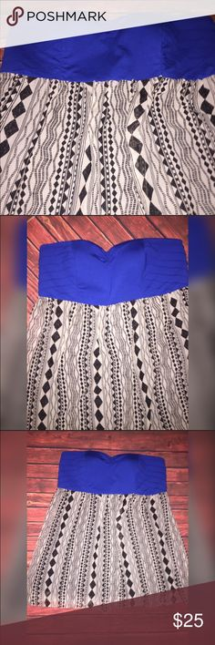 🎀Plus size dress Gorgeous cobalt blue strapless dress with a chiffon type tribal bottom. Structured on top for a better fit on a plus sized woman. Size tag has been removed but is a 3X from city triangles.  Beautiful dress, add a statement piece necklace and wedges for a hot date night outfit. City Triangles Dresses Mini