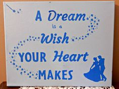 A Dream Is Wish Your Heart Makes Handmade By Store94Crafts Canvas Quotes Art