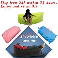 Fast Inflatable Camping Sofa Air Sleeping Bag Bed Hiking Lamzac Hangout Chair