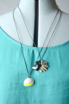 Simple kid friendly crafts using shells like a dip-dyed shell necklace. DIY via Melissa Esplin - so fun! Our kids would wear every day.