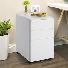 Modern Style File Cabinet, White 3 Drawer Filing Cabinet Locking Pedestal Desk Storage Keep Important Documents w/Key Lock Home, Work Place, Office Storage Boxes With Lids, Desk Storage, Small Storage, Storage Spaces, 3 Drawer File Cabinet, Mobile File Cabinet, Hanging File Folders, Pedestal Desk, Closets