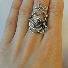 Vintage 925 Sterling Silver Rose & Leaf Design Ring Size by Lanter, $80.00