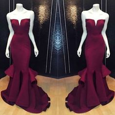 NEW-Satin-Burgundy-Mermaid-Long-Evening-Dress-Bridal-Wedding-Prom-Pageant-Dress