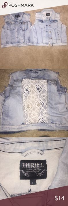 Two Cut Off Jean Jacket! Both size large! Both also never worn. One of them has a lacy style back as shown in photo. Selling both for $14 thrill brand Jackets & Coats Jean Jackets
