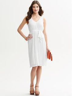 """Little White Dress"" ...think spring.   Printed tie-front pleat dress 