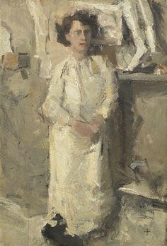 Isaac Israëls - Portrait of the artist Theo Nieuwenhuis in his studio; Medium: oil on panel