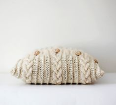 Cable knit pillow cover milk white decorative by pillowlink