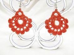 Salmon colour earrings