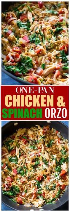 This One-Pan Chicken Spinach Orzo is an easy weeknight dinner with chicken and spinach in a creamy tomato orzo. #healthy the-girl-who-ate-everything.com