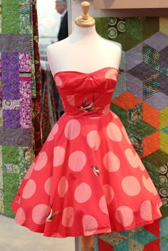 Dress in Tula Pink Freefall fabric.  Fall 2015 Quilt Market.  Photo by The Bernina blog.
