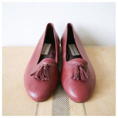5cadfacc96e Women s Loafers. Leather Flats. Aigner Oxblood Tassel Loafers. Preppy 80s
