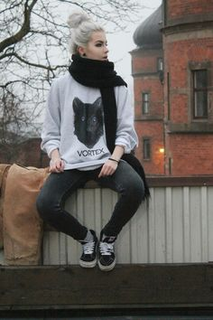 Scarf soft grunge wolf black skinny jeans canvas shoes dyed white hair high bun