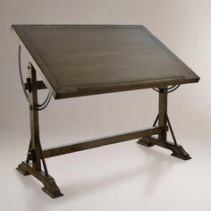 Cost Plus World Market Drafting Desk ($280) ❤ liked on Polyvore featuring home, furniture, desks, desk, brown, brown furniture, adjustable desk, cost plus world market furniture, brown desk and cost plus world market