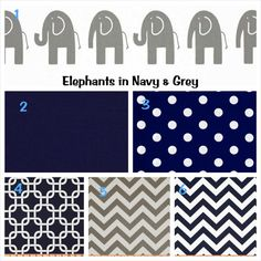 Custom 3 Piece Baby Bedding Set Navy Grey Elephants by BlanketsETC, $175.00 love these colors for a baby boy