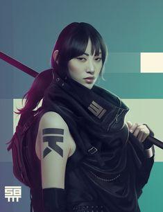 New fashion illustration face digital Ideas Cyberpunk Rpg, Cyberpunk Girl, Cyberpunk Fashion, Sci Fi Characters, Girls Characters, Chinese Characters, Neon City, Era Edo, Ronin Samurai