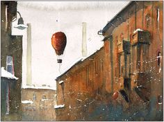 Watercolour from Nikiszowiec - old miner's settlement in Katowice. Balloon Flights, Watercolor And Ink, Original Artwork, Balloons, Deviantart, The Originals, Illustration, Artworks, Behance