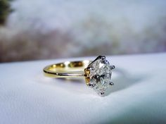Stunning 14K Gold 1.01 Carat Oval Brilliant Cut Natural Diamond Solitaire Ring – Size 4.25 by CarolsVintageJewelry on Etsy