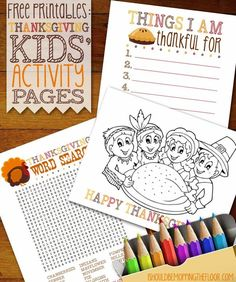Free Printable Thanksgiving Kids' Activity Pages | A great solution to keeping younger ones busy during dinner prep time!