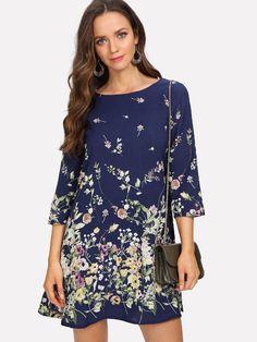 Buy Multicolor Botanical Print Trapeze Dress for Women at Fashiontage. Latest Dress, Botanical Prints, Dress P, Cold Shoulder Dress, Fashion Outfits, Women's Fashion, Boho, Floral, Clothes