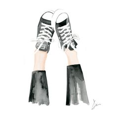 "Watercolor Fashion Illustration ""Kickin up my Chucks"" Giclee Art Print Home Decor Wall Art Converse Shoes by denacooper on Etsy https://www.etsy.com/listing/293564321/watercolor-fashion-illustration-kickin"