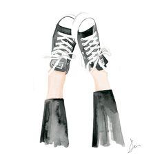 Kickin up my Chucks, print from original watercolor and mixed media fashion…
