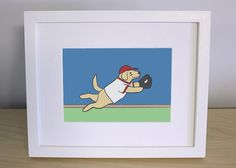 Baseball Nursery Art  Dog Wall Art  Yellow by GrizzlyBearGreetings, $10.00