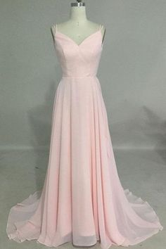 simple v neck chiffon pink evening dress, backless pink prom dress for teens