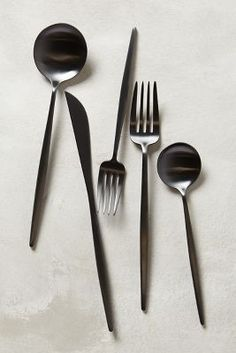 neona flatware. anthropologie. $128.00. five-piece setting. 18/10 stainless steel. hand wash. portugal. style no. 33200783.