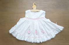 Vintage Baby Clothes, Baby Girl Pink Smocked Pinafore Dress with Rosebud Print and Flower Applique, 3-6 Months