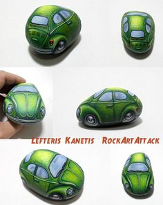 Three-Dimensional Green Beetle Car Painted stone by RockArtAttack