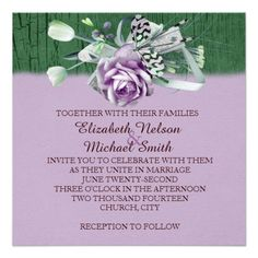 Wood Lavender Rose Ribbon Romantic Wedding Invite