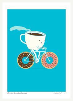 Caffè e ciambelle stampa d'arte di ilovedoodle su Etsy