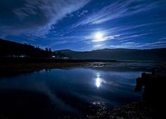 Moonlight above Strontain in Western Highland