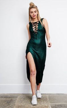 Calm Before The Storm Knitted Dress   Green Product photo