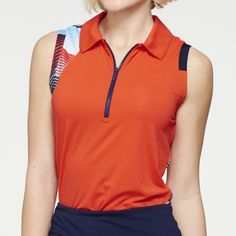 Check out what #lorisgolfshoppe has for your days on and off the golf course: OLYMPIC ERA (Victory/Anthem) GGblue Ladies & Plus Size April Sleeveless Golf Shirt