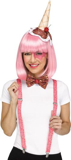 The Ice Cream Costume Accessory Kit includes a headband with an attached melted chocolate ice cream cone with a cherry and a matching bow tie. You'll look sweet as ice cream in this kit! Crazy Costumes, Cute Halloween Costumes, Diy Costumes, Costumes For Women, Halloween 2020, Halloween Ideas, Costume Ideas, Diy Ice Cream, Ice Cream Theme