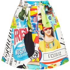 Moschino Printed cotton-blend faille skirt (7.528.280 VND) ❤ liked on Polyvore featuring skirts, bottoms, moschino, blue, patterned skirts, multicolor skirt, blue skirt, multi color skirt and patchwork skirt