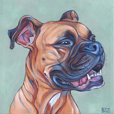Sydney the Fawn Boxer, Painting in Acrylic on Canvas from Pet Portraits by Bethany.