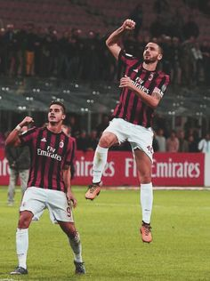 28b74e48764 Leonardo Bonucci of AC Milan celebrates at the end of the Serie A match  between AC Milan and Spal at Stadio Giuseppe Meazza on September 2017 in  Milan