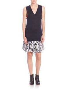 EQUIPMENT Portia Cheetah-Print Combo Dress. #equipment #cloth #dress