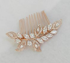Rose Gold Bridal Hair Comb Wedding Hair comb by CrystalAvenues