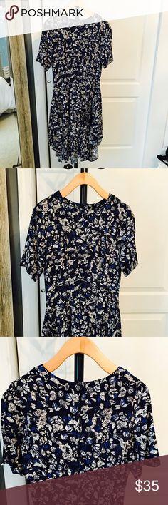 H&M Floral Dress Asymmetrical hem. In great condition. 100% viscose H&M Dresses Midi