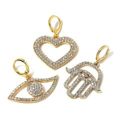 "Joan Boyce ""Charmed for Sure"" Heart, Angel Eye and Hamsa Set of 3 Pavé Crystal Charms -"