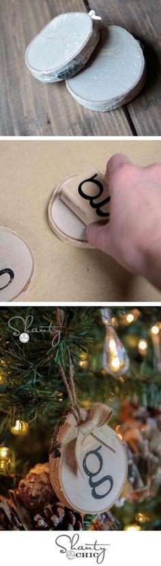 Super cute Christmas ornament idea!  Birch initial ornaments... Love.