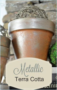 Love these metallic terra cotta pots. They look dry brushed but they were spray painted!