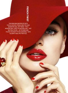 Milou Sluis is Red Hot in Cosmopolitans February Issue by Jamie Nelson    Her nails and lips are fun.
