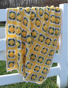 PA621 Remember Summer Afghan Crochet Pattern- Made with worsted weight yarn in vibrant yellows and greens, this afghan will light up any room you place it in and is sure to bring a smile your face as you snuggle underneath, no matter what season it is outside. Skill Level: Intermediate. Size: 45� wide x 66� long.